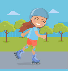 Young girl in helmet roller skate in park vector