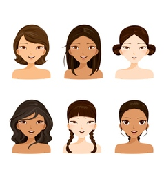 Young women faces with various hairstyles and skin vector image