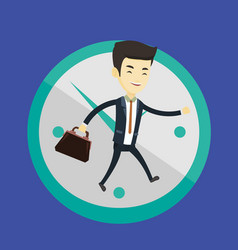business man running on clock background vector image