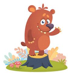 cartoon little bear standing on tree stump vector image