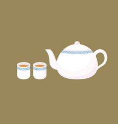 chinese porcelain teapot in flat design vector image vector image