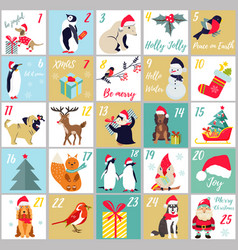 christmas advent calendar winter holidays poster vector image