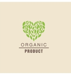 Leaf Heart Above Text Organic Product Logo vector image vector image