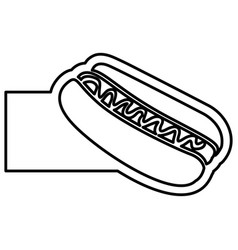 monochrome contour with hot dog with sauce and vector image