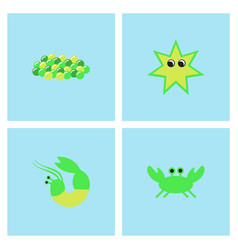 Sea life and underwater seabed animals collection vector