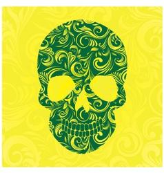 Skull Swirl Ornament Yellow vector image vector image