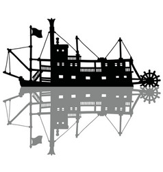 the black silhouette of a historical riverboat vector image vector image