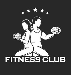 athletic or fitness club emblem vector image vector image
