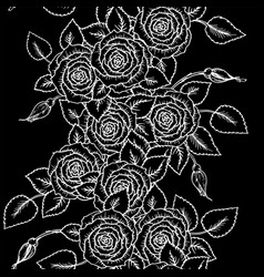 beautiful black and white seamless pattern roses vector image vector image