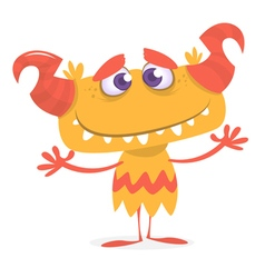 Happy orange monster vector image