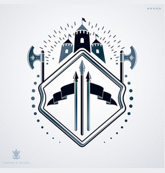 luxury heraldic emblem template made using vector image vector image