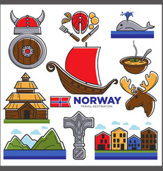 norway travel destination poster with isolated vector image vector image