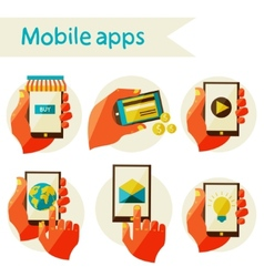 set mobile icons vector image vector image