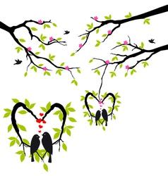birds on tree in heart nest vector image