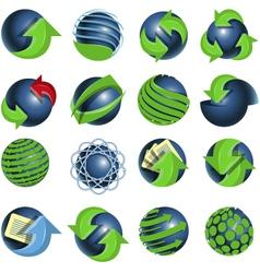 blue balls and green arrows vector image