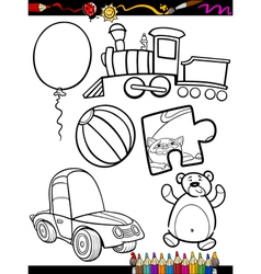 cartoon toys objects coloring page vector image vector image