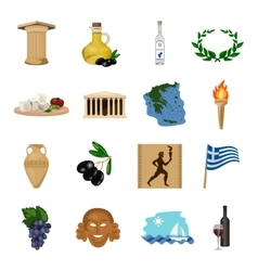 Greece set icons in cartoon style Big collection vector image vector image