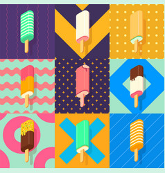 ice lolly colorful set vector image vector image