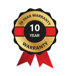10 year warranty badge warranty certificate y vector