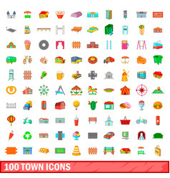 100 town icons set cartoon style vector