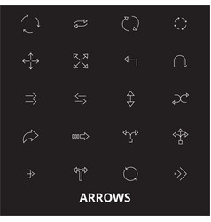 arrows editable line icons set on black vector image