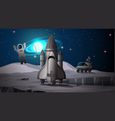 Astronaut and rocket on planet vector