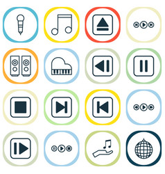 Audio icons set collection of song ui octave vector