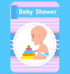 Baby shower greeting card infant in diaper vector