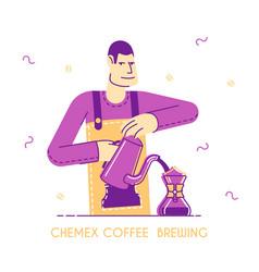 Barista brewing coffee concept young man waiter vector