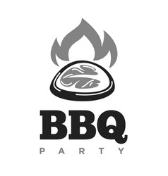 bbq grill party icon beefsteak grilled vector image