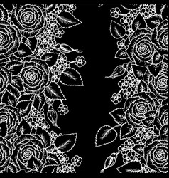Beautiful black and white seamless pattern roses vector