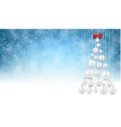 blue background with white christmas tree vector image
