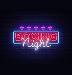 Boxing night neon sign design template vector