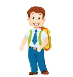 Boy with bagpack vector