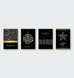 christmas and new year gold line icon card set vector image