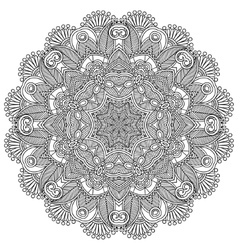 Circle lace black and white ornament vector