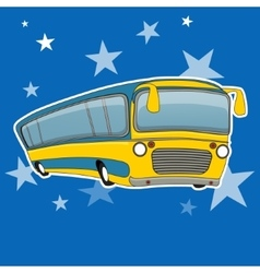 City bus icon cartoon style Yellow bus transport vector