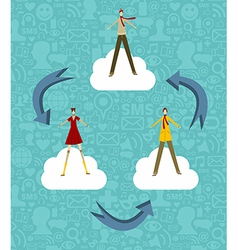 Cloud computing people vector