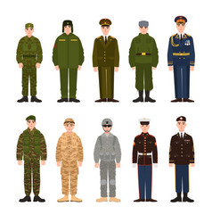Collection of russian and american military people vector