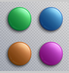 Colorful blank button badges round pin magnets vector
