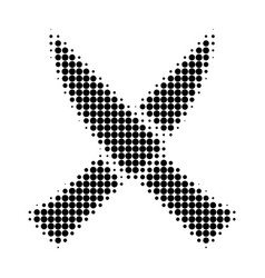 crossing knives halftone dotted icon vector image