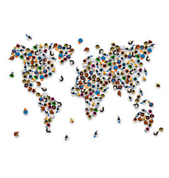 Crowd of people in the form of world map vector