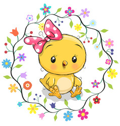 Cute chicken in a flowers frame vector