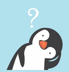 Cute head funny penguin cartoon confuse vector