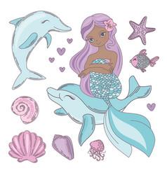 Cutie baby black mermaid set vector