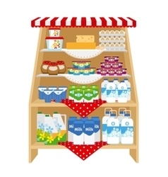 Dairy products on store shelves vector image