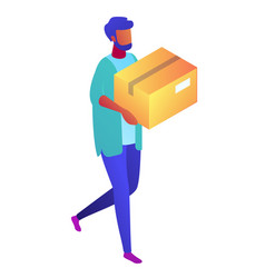Delivery man carrying a cardboard package vector