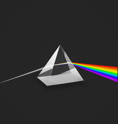 Dispersion colorful spectrum light glass prism vector