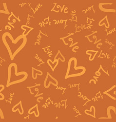 doodle romantic seamless pattern with doodle love vector image