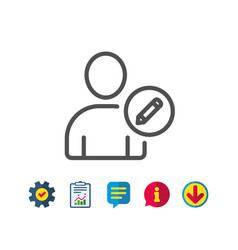 edit user line icon profile avatar sign vector image